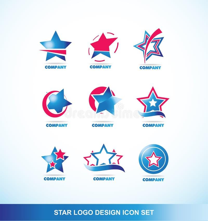 Insieme dell'icona di logo della stella di rosso blu illustrazione di stock