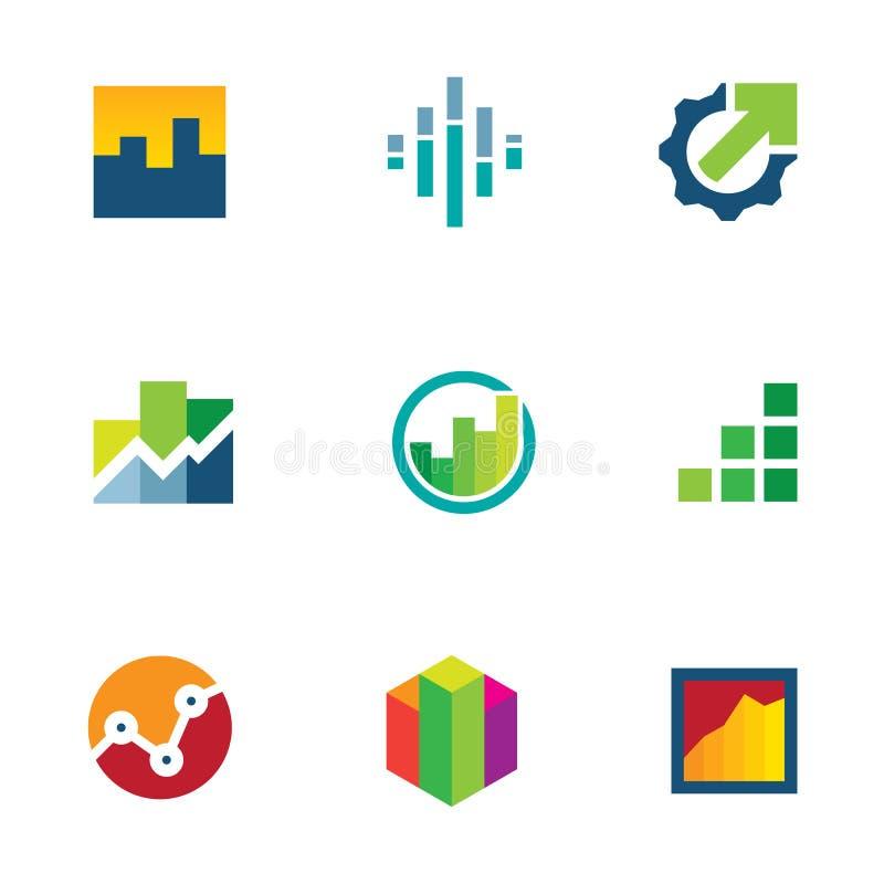 Insieme dell'icona di logo di produttività di affari della barra del grafico di finanza di economia illustrazione di stock