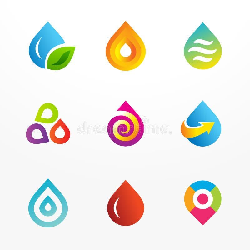 Insieme dell'icona di logo di vettore di simbolo della goccia di acqua illustrazione di stock