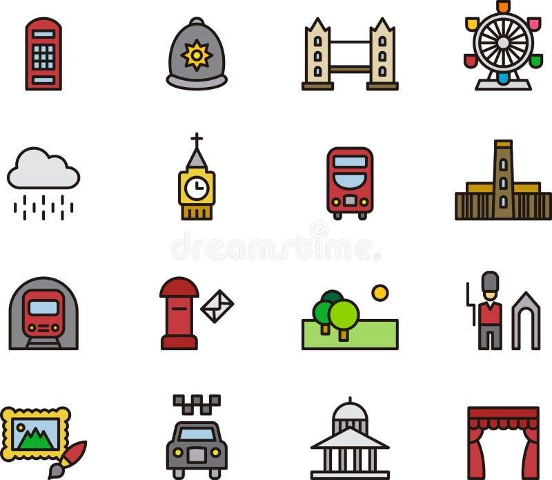 Insieme dell'icona di Londra royalty illustrazione gratis