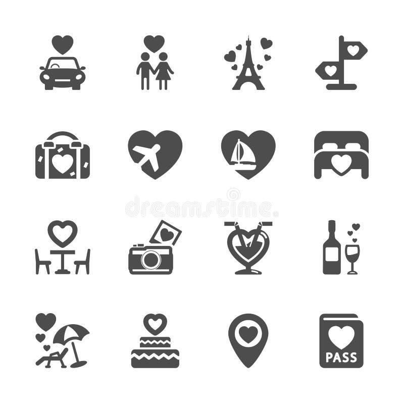 Insieme dell'icona di luna di miele e del biglietto di S. Valentino, vettore eps10 illustrazione vettoriale