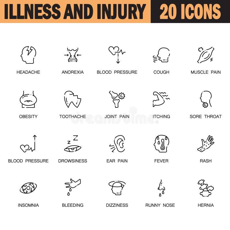 Insieme dell'icona di malattia royalty illustrazione gratis