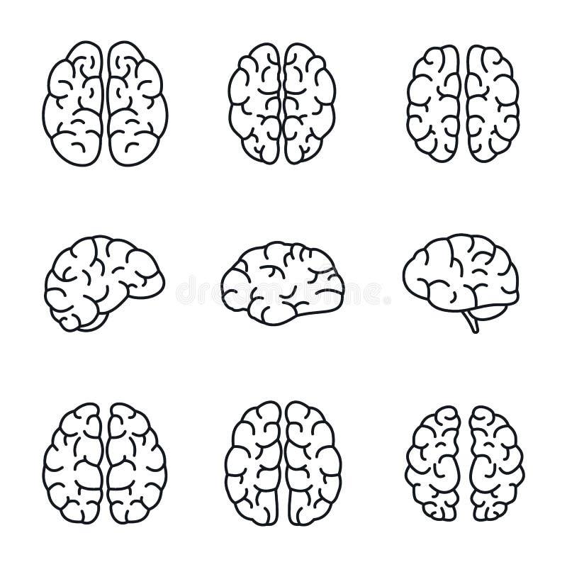 Insieme dell'icona di mente del cervello, stile del profilo royalty illustrazione gratis