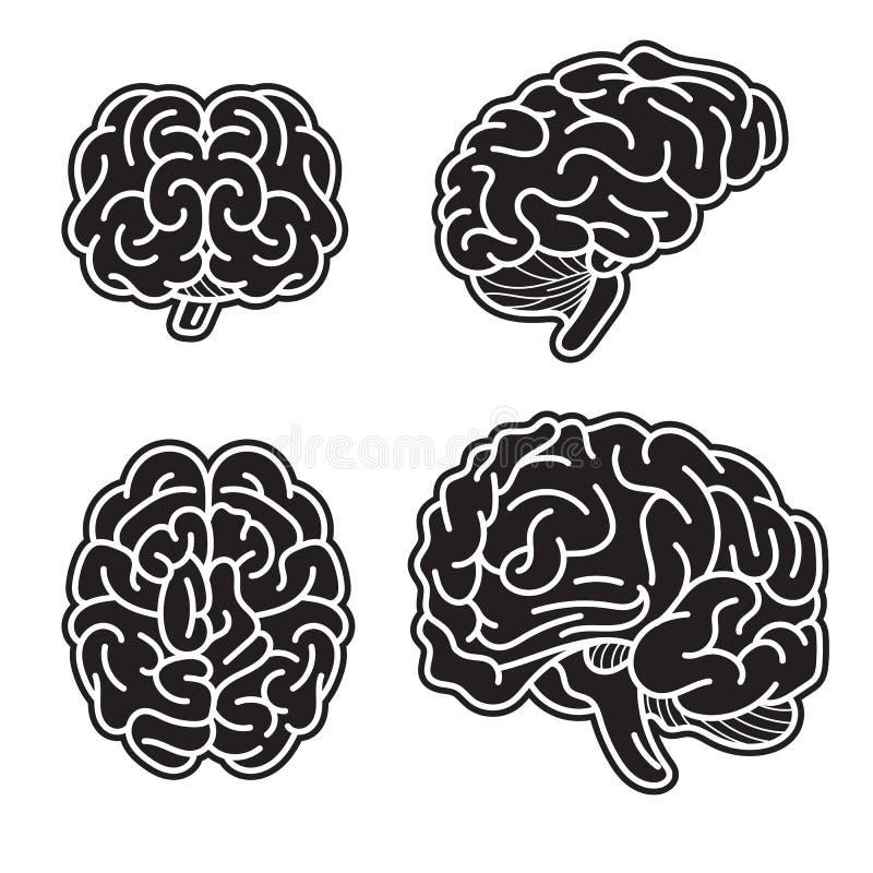 Insieme dell'icona di mente del cervello, stile semplice illustrazione di stock