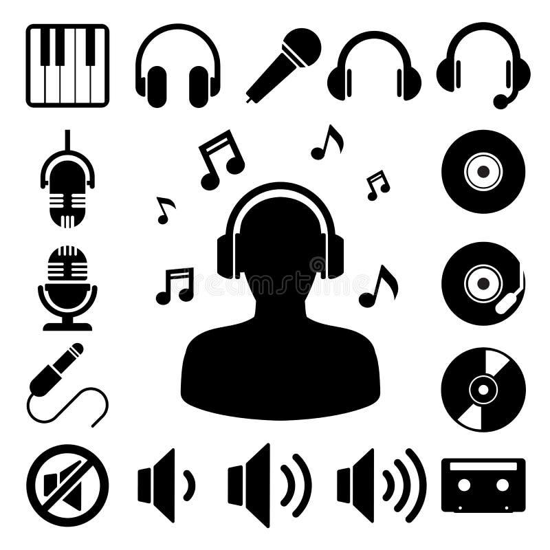 Insieme dell'icona di musica. illustrazione di stock