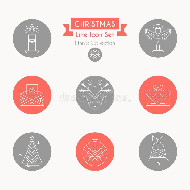 Insieme dell'icona di natale Raccolta della linea creativa elementi di progettazione di stile illustrazione di stock