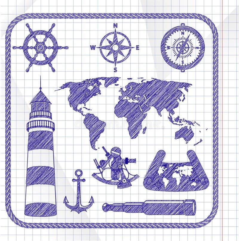 Insieme dell'icona di navigazione di schizzo royalty illustrazione gratis