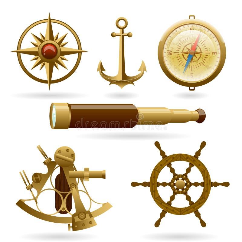 Insieme dell'icona di navigazione marina di vettore isolato su fondo bianco Windrose, ancora, bussola ed altri oggetti royalty illustrazione gratis