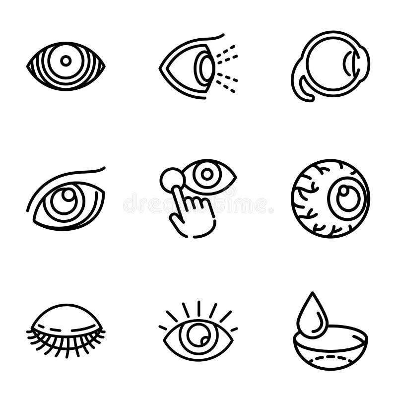 Insieme dell'icona di optometria, stile del profilo royalty illustrazione gratis