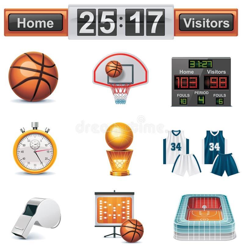 Insieme dell'icona di pallacanestro di vettore illustrazione di stock