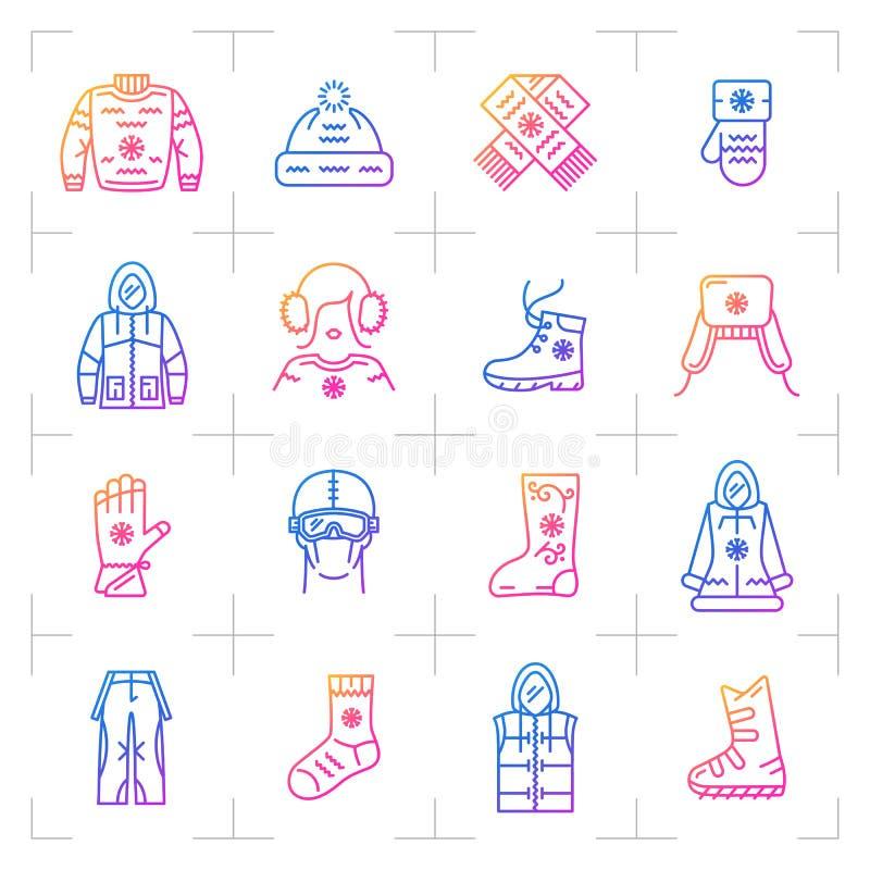 Insieme dell'icona di pendenza di vettore dei vestiti di inverno di tendenza, simboli di web illustrazione di stock