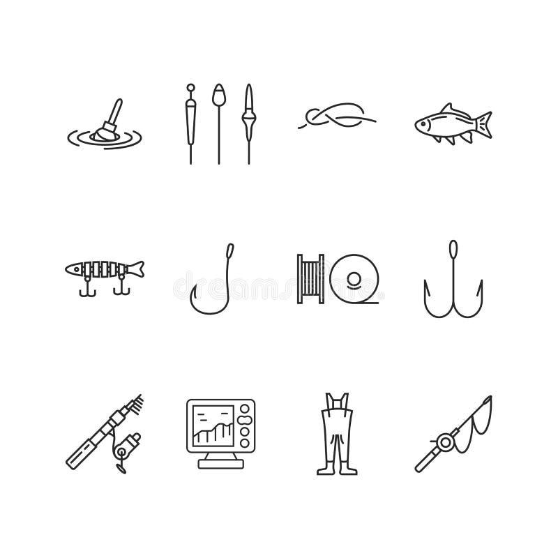 Insieme dell'icona di pesca royalty illustrazione gratis