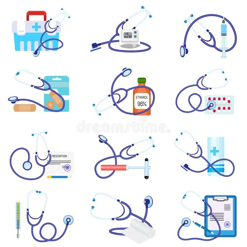 Insieme dell'icona di Phonendoscope, stile piano illustrazione vettoriale