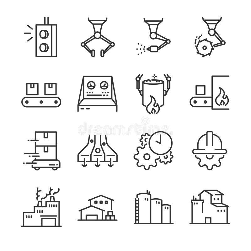 Insieme dell'icona di processo industriale Ha compreso le icone come la fabbrica, l'industria, il processo, la produzione, la mac royalty illustrazione gratis