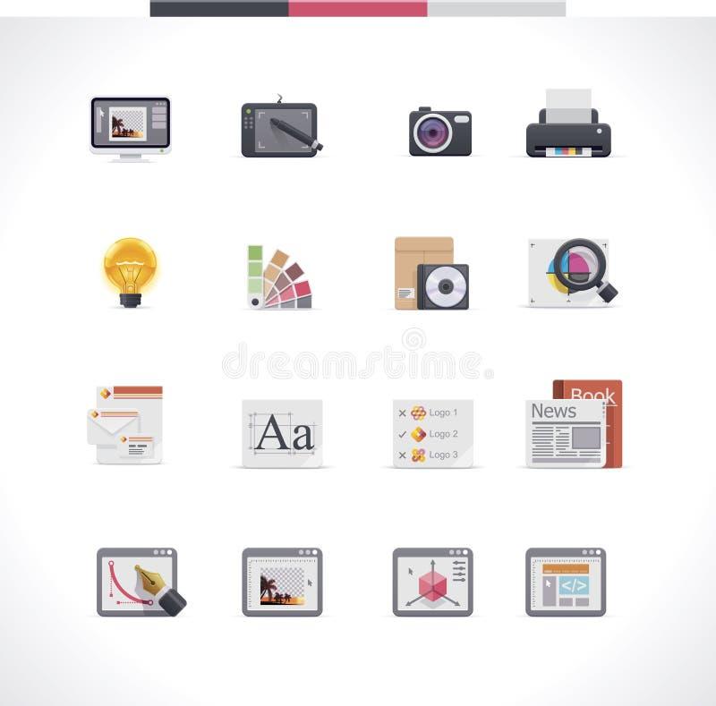 Insieme dell'icona di progettazione grafica illustrazione di stock