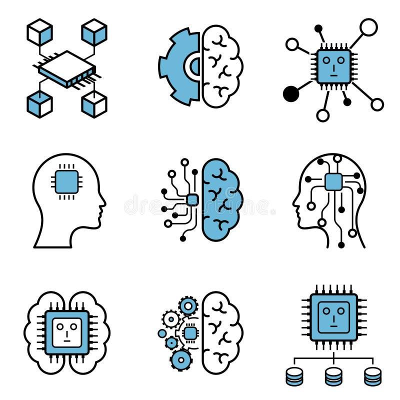 Insieme dell'icona di progettazione di vettore di apprendimento di computer & di intelligenza artificiale illustrazione vettoriale