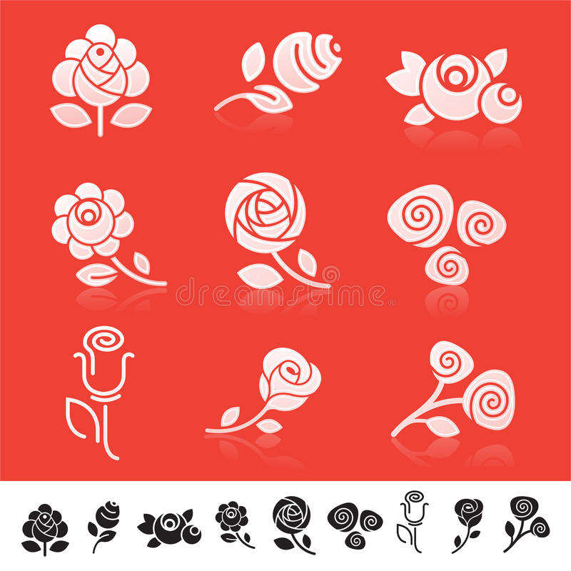 Insieme dell'icona di Rosa illustrazione di stock