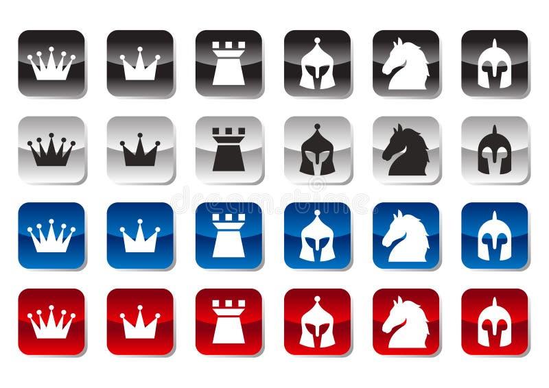 Insieme dell'icona di scacchi illustrazione vettoriale