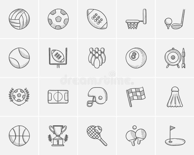 Insieme dell'icona di schizzo di sport illustrazione di stock