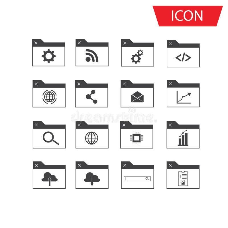 Insieme dell'insieme dell'icona di Seo e dell'icona di sviluppo royalty illustrazione gratis