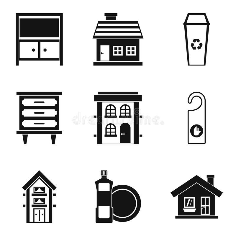 Insieme dell'icona di servizio di pulizia dell'hotel, stile semplice illustrazione vettoriale