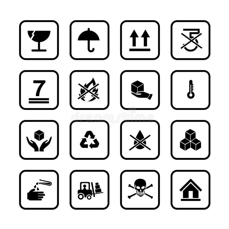 Insieme dell'icona di simboli dell'imballaggio per la scatola su fondo bianco illustrazione di stock