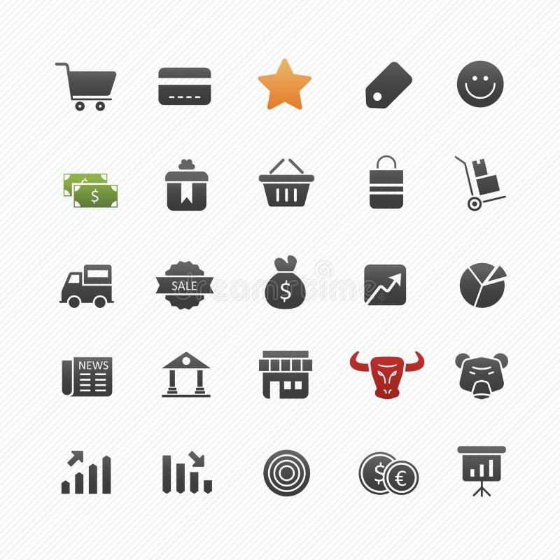 Insieme dell'icona di simbolo di vettore di acquisto e di affari illustrazione di stock