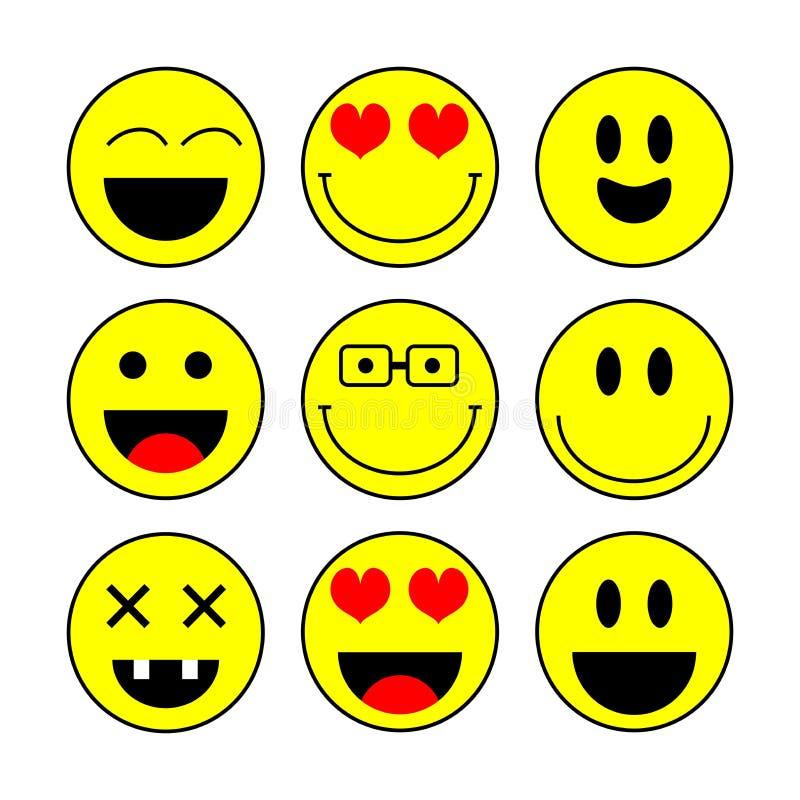 Insieme dell'icona di sorriso, vettore Icone di emozione Le icone di sorriso vector l'illustrazione isolata su fondo bianco royalty illustrazione gratis