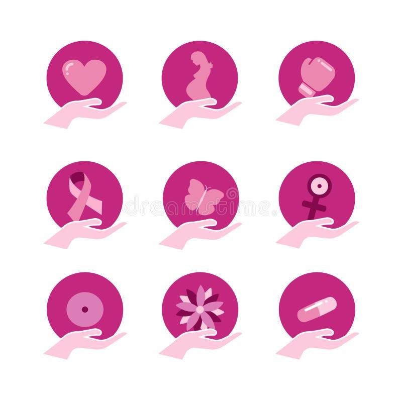 Insieme dell'icona di sostegno di rosa di consapevolezza del cancro al seno illustrazione vettoriale