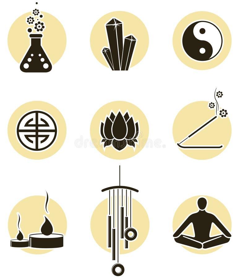 Insieme dell'icona di spiritualità royalty illustrazione gratis