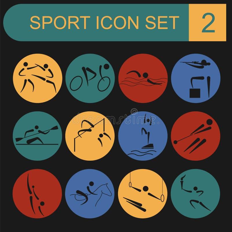 Insieme dell'icona di sport Stile piano royalty illustrazione gratis