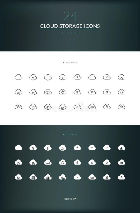 Insieme dell'icona di stoccaggio della nuvola illustrazione vettoriale