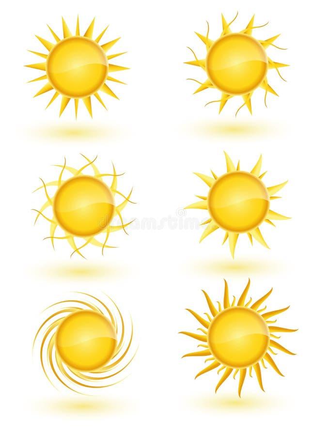 Insieme dell'icona di Sun illustrazione di stock