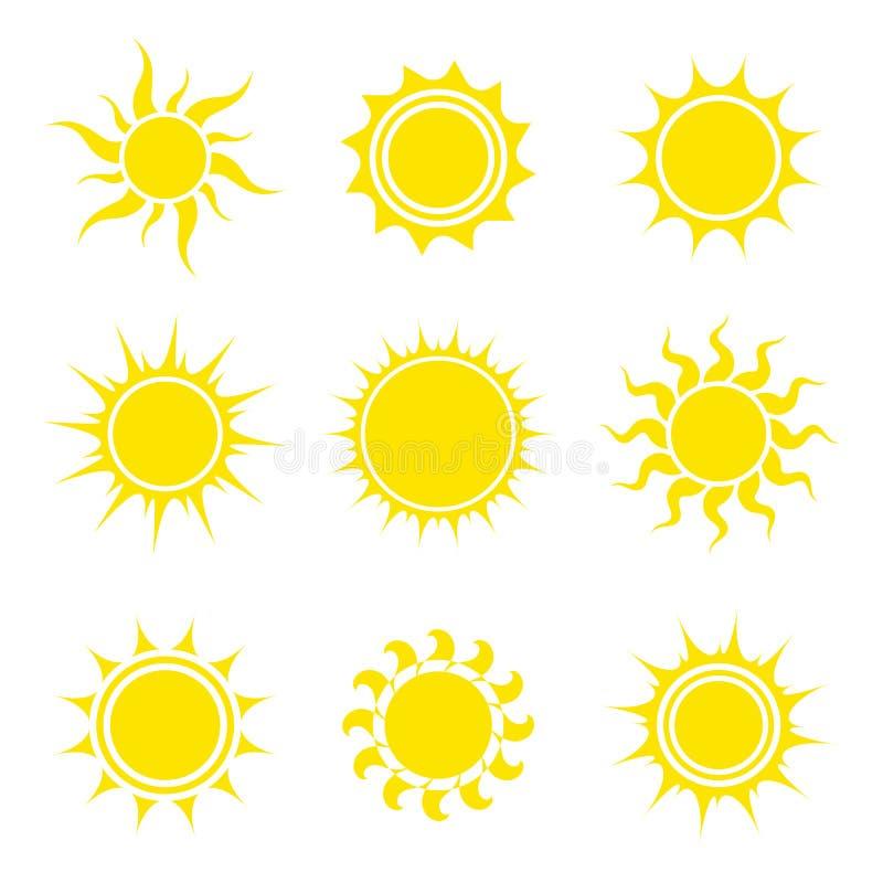 Insieme dell'icona di Sun Accumulazione degli elementi astratti Illustrazione di vettore fotografie stock