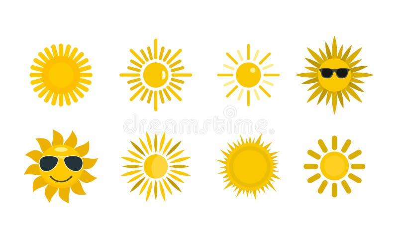 Insieme dell'icona di Sun, stile piano royalty illustrazione gratis