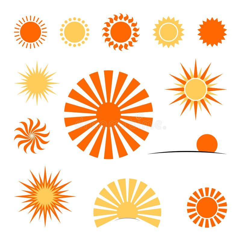 Insieme dell'icona di Sun di vettore elemento di progettazione per il sito Web dell'aletta di filatoio di scenetta della cartolin illustrazione di stock