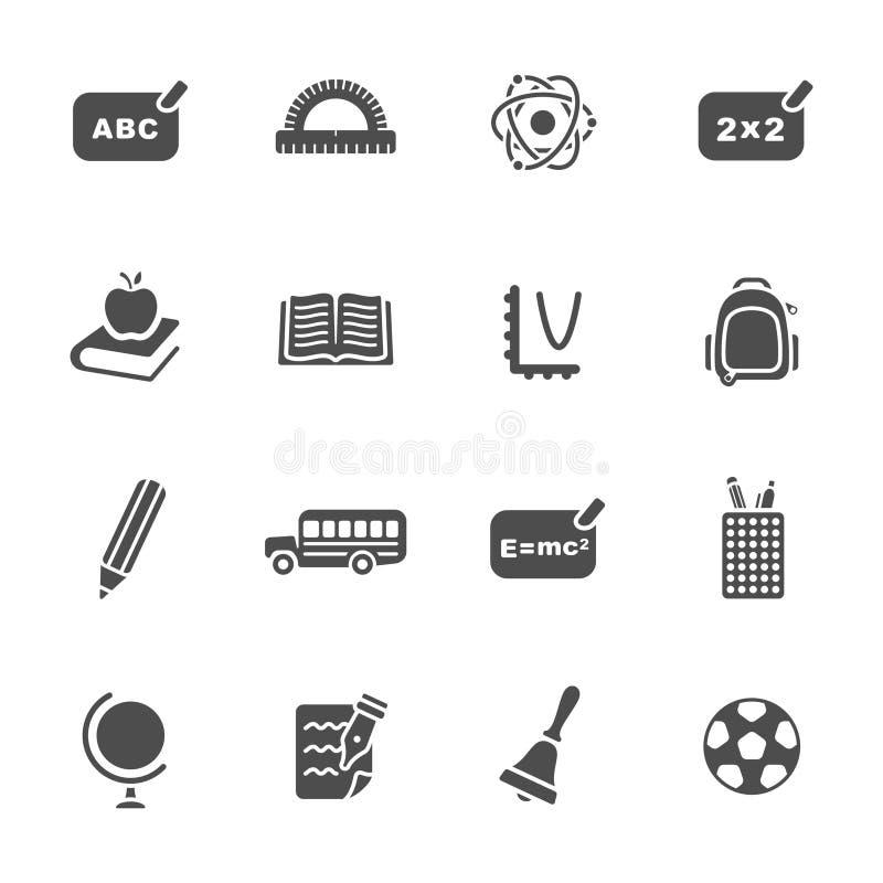 Insieme dell'icona di tema della scuola royalty illustrazione gratis