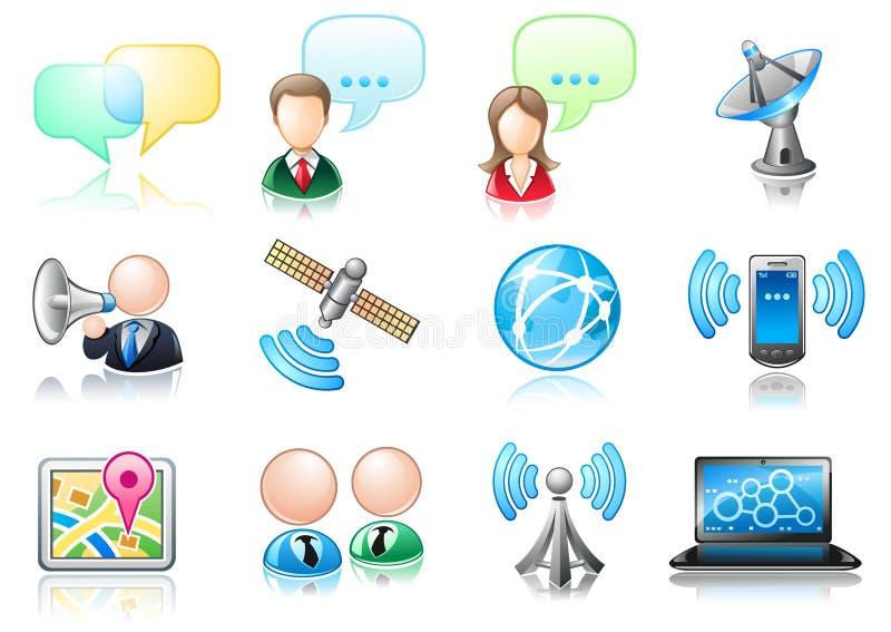 Insieme dell'icona di tema di comunicazione illustrazione di stock