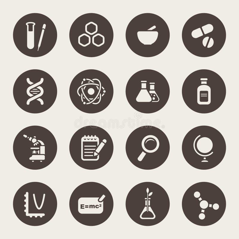 Insieme dell'icona di tema di scienza illustrazione di stock