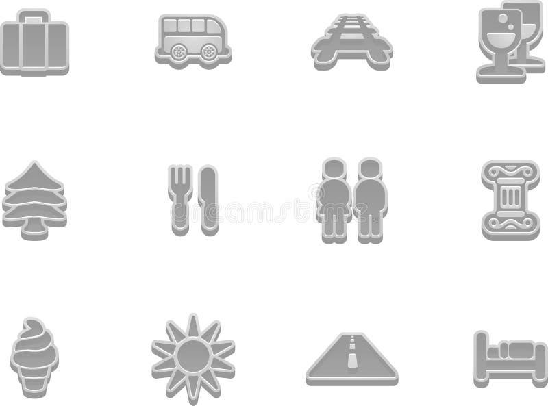 Insieme dell'icona di turismo e di corsa royalty illustrazione gratis