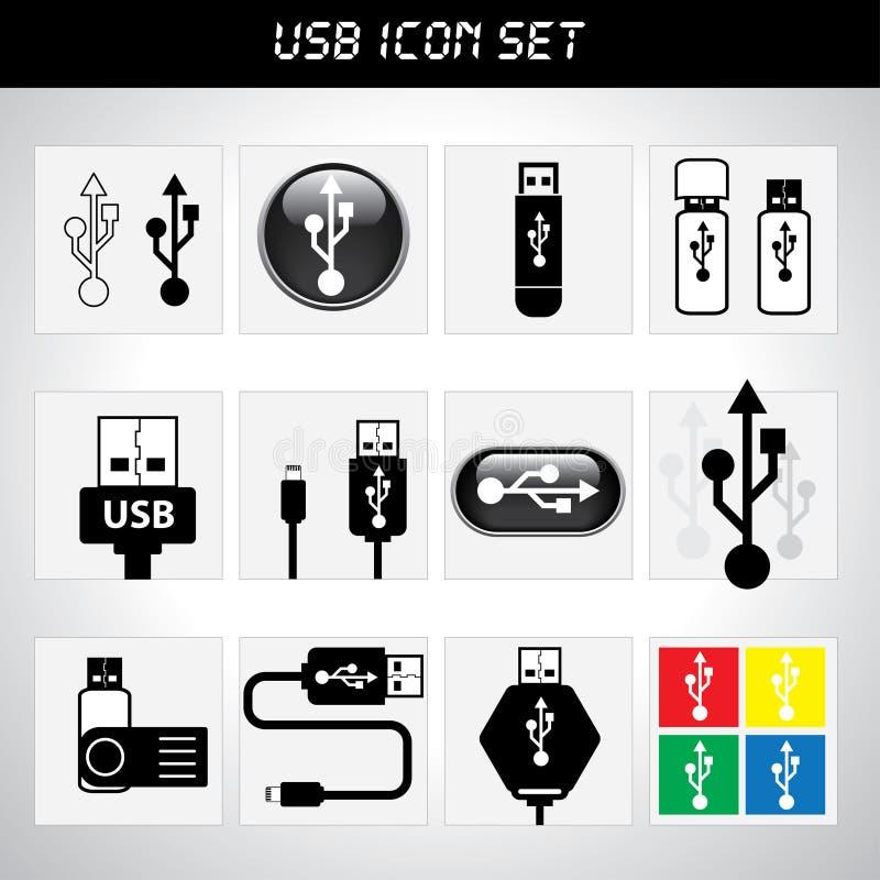 Insieme dell'icona di USB illustrazione di stock
