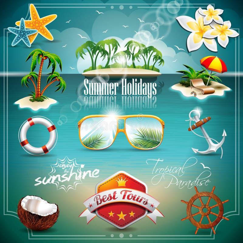 Insieme dell'icona di vacanza estiva di vettore. illustrazione di stock