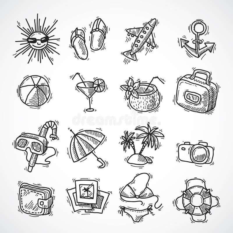 Insieme dell'icona di vacanze estive illustrazione di stock