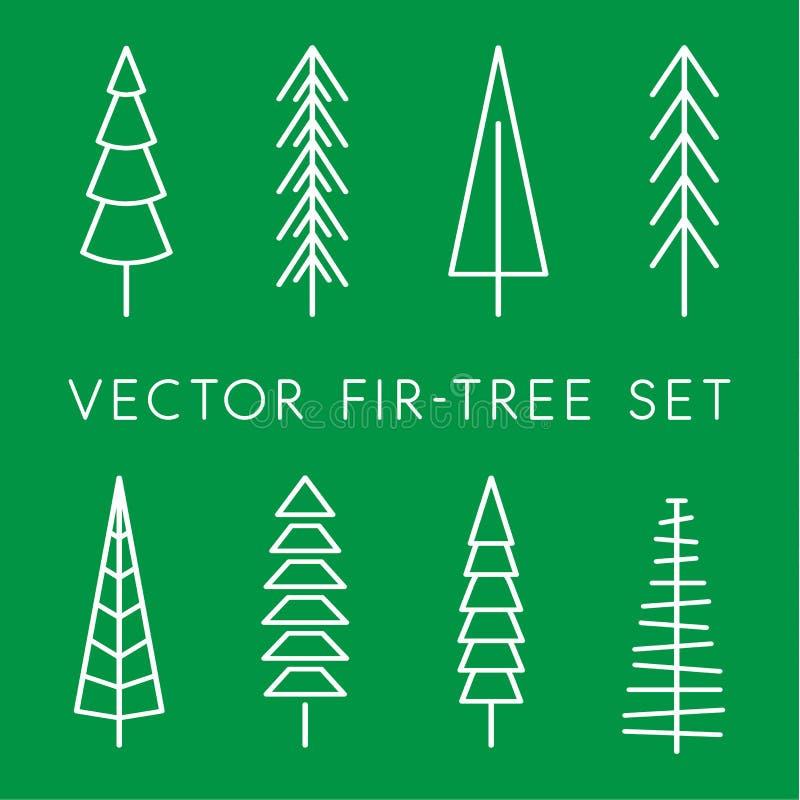 Insieme dell'icona di vettore dell'albero Linea del pino, lineare, logo del profilo Icone isolate della natura Illustrazione pian illustrazione vettoriale