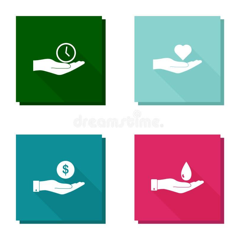 Insieme dell'icona di vettore con la mano lunga dell'ombra che tiene un orologio, un cuore, i soldi e una goccia di acqua royalty illustrazione gratis