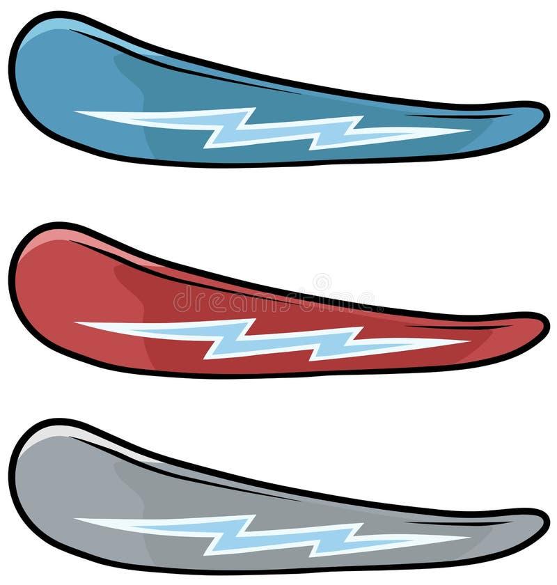 Insieme dell'icona di vettore degli snowboard colorato fumetto illustrazione vettoriale