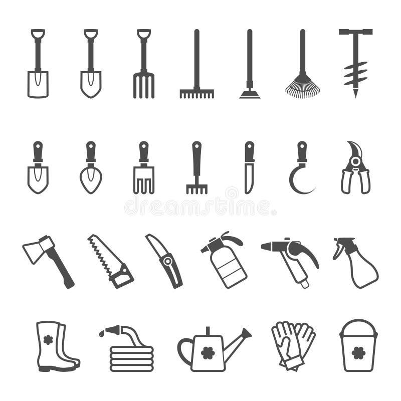 Insieme dell'icona di vettore degli strumenti di giardino illustrazione vettoriale