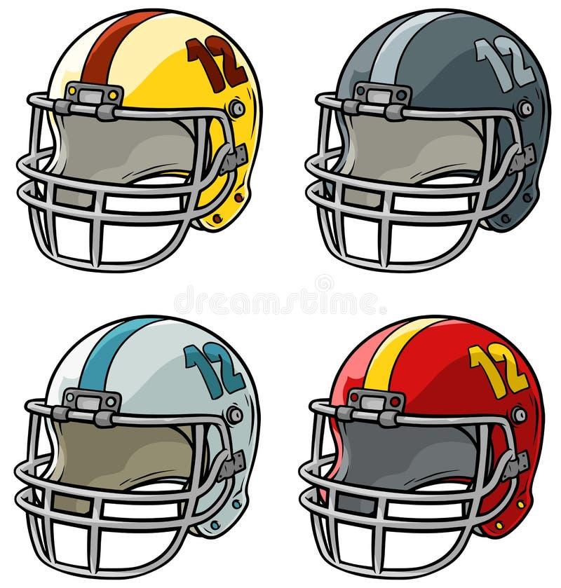 Insieme dell'icona di vettore del casco di football americano del fumetto royalty illustrazione gratis