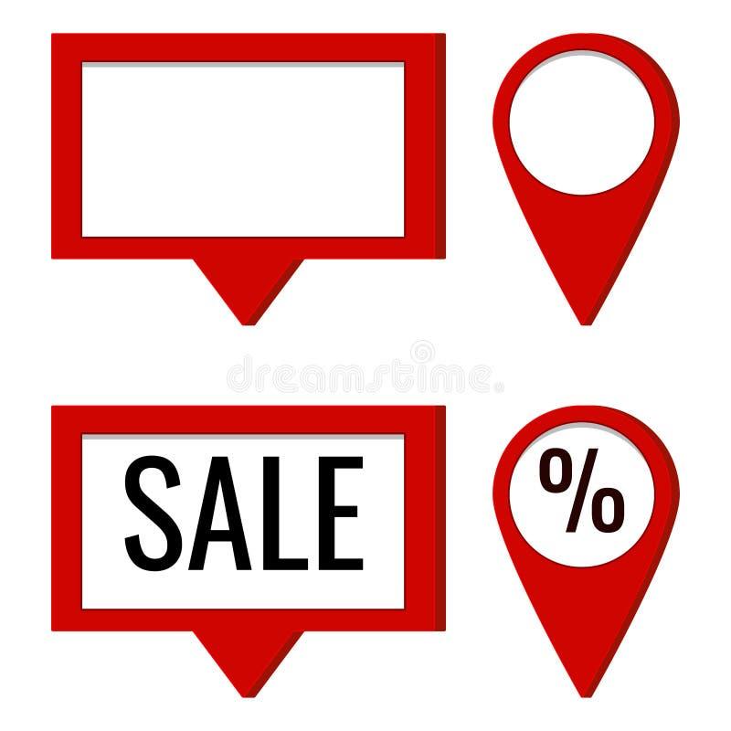 Insieme dell'icona di vettore del giro e puntatore rosso quadrato della mappa con il posto e vendita e le percentuali vuoti del t illustrazione vettoriale