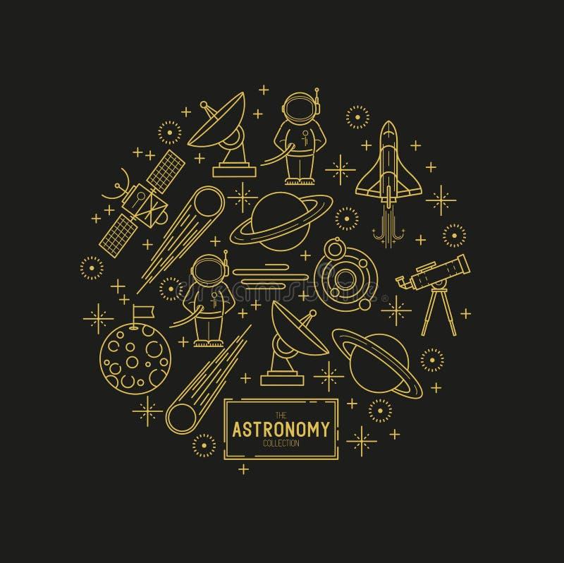 Insieme dell'icona di vettore dell'oro di astronomia illustrazione vettoriale